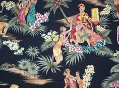 Vintage Hawaiian Print Fabric by olysoldies on Etsy, $10.95
