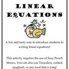 This activity is a fun and yummy way to introduce your students to linear equations. They use sour punch straws, twizzlers, etc. to understand slop...