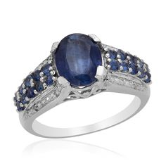Liquidation Channel - Affordable Himalayan Kyanite (Ovl 3.35 Ct), Kanchanaburi Blue Sapphire, Diamond Ring in Platinum Overlay Sterling Silver Nickel Free (Size 10) TDiaWt 0.02cts, TGW 4.17 cts.