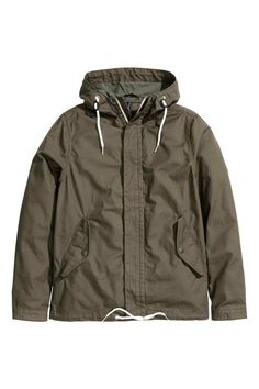 Parka in washed cotton canvas with lined drawstring hood. Zip and wind flap with concealed snap fasteners at front, side pockets with flap and snap fastener, and tab and snap fastener at cuffs. Green Man, Khaki Green, H&m Fashion, Fashion Online, Sweater Jacket, Rain Jacket, Cultura Pop, Canada Goose Jackets, Parka