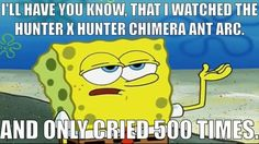 ️Hunter x Hunter chimera any arc...... SpongeBob meme ...... Crying ..... Being strong Or maybe 501...