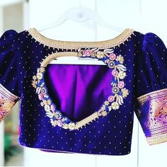 Blouse Designs High Neck, Hand Work Blouse Design, Half Saree Designs, Simple Blouse Designs, Stylish Blouse Design, Fancy Blouse Designs, Designer Blouse Patterns, Embroidery Blouses, Aari Embroidery