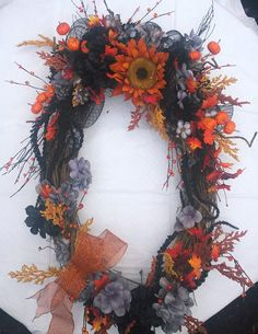 32 Inch by 26 Inch Oval Autumn/Halloween by FantasyFloralsbyKay Wreaths For Front Door, Door Wreaths, Halloween Front Doors, Thanksgiving Decorations, Earthy, Harvest, Florals, Floral Wreath, Autumn