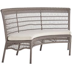 """Beautiful weather: Check. Lemonade and a delicious read: Check. A comfy, outdoor bench with open-air back: Check. It features handcrafted construction and tons of special details including fully wrapped legs and a rich, woven texture. All of which make our bench a durable, versatile and totally relaxing addition to your porch or patio.<span id=""""mini-upsell"""" data-launch=""""true"""" data-required=""""false"""" data-product=""""Cushions"""" data-mast..."""