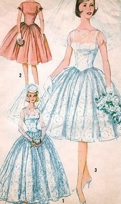 vintage wedding dress sketches I sure thought I looked at this pattern. Wedding Dress Sketches, Wedding Dress Patterns, Vintage Dress Patterns, Vintage 1950s Dresses, Vintage Outfits, Vintage Fashion, Vintage Sewing, Sewing Patterns, Bridal Dresses
