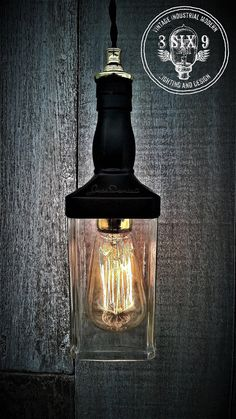 Whiskey Bottle Pendant Light... Variant Black  by 8SIX9Design