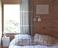 Wooden summer cottage in Scandi Living, Curtains Pictures, Cottage Interiors, Cottage Design, Minimalist Interior, Dream Decor, Scandinavian Interior, Home Bedroom, House Colors