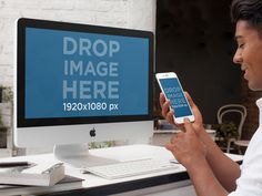 Mockup of a Young Designer Working on an iMac and Using an iPhone Placeit Stage Image