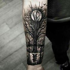 40 Tief und super cool Wald Tattoo-Ideen # Wald # Ideen - Tattoo Ideas - DIY Garden Flower - Cute Home Decorations - Red Hair Styles - DIY Hoop Errings Forest Tattoo Arm, Tree Tattoo Arm, Forest Tattoos, Tattoo Moon, Full Moon Tattoos, Dead Tree Tattoo, Elf Tattoo, Night Tattoo, Tattoo Feather