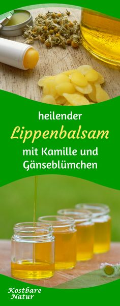 Aus nur wenigen Zutaten kannst du natürliche Lippenpflege selber machen. Die Heilpflanzen Kamille und Gänseblümchen pflegen deine Lippen langanhaltend.