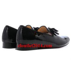 Discount Christian Louboutin Louvre Men Leather Flat Shoes Black