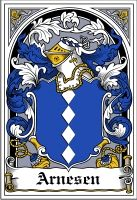 Arnesen Family Crest Coat of Arms #apparel #gifts #glassware #embroideries #prints #history #gift #scrolls #mugs #steins #flags #family #reunion #wine #glasses #genealogy #code of arms #shield #mousepads #shirts #t-shirts #jpeg