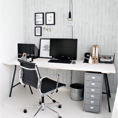 Black, grey & white workspace
