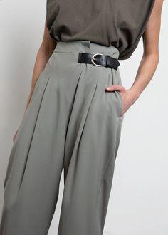 Suit Pants with Black Side Belt- Mint Sage – The Frankie Shop Fashion Pants, Fashion Outfits, Looks Street Style, Fashion Details, Fashion Design, Runway Fashion, Womens Fashion, Office Fashion, Everyday Fashion