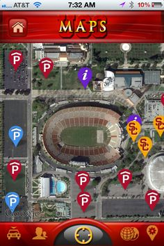 Our powerful mapping features enable fans to locate important points of interest around gameday.   All locations are set up via our online CMS and are completely dynamic.   Fans can find parking pricing and directions, read menus from local restaurant, locate gas stations, ATM's, health facilities and gate information.