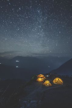 cool Coffee in the mountains.                                                                                                                                                                                 More Glamping, Star Night, Night Sky Stars, Night Sky Tumblr, Norway Camping, Stargazing, Tents, Sky Full, Travel Nepal