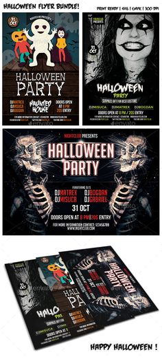 Halloween Party Flyer Bundle Template PSD   Buy and Download: http://graphicriver.net/item/halloween-party-flyer-bundle-vol-3/9098554?WT.ac=category_thumb&WT.z_author=Mariux&ref=ksioks
