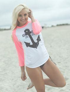 Live Life Anchored Boyfriend Baseball Tee Neon Pink. $26.00, via Etsy. Um yeah. I need this!