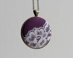 Purple Necklace, Boho Fashion Lace Pendant Purple Bridesmaid Jewelry Purple Wedding Royal Purple Jewelry Purple Lace Necklace, Eclectic