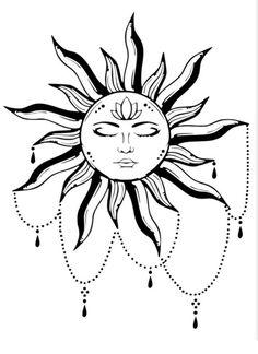 Mandala Tattoo Design, Mandala Sonne Tattoo, Tattoo Sonne, Sun Tattoo Designs, Sun Designs, Henna Designs, Hamsa Design, Moon Sun Tattoo, Sun Tattoos