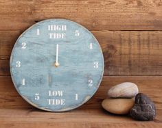 Tide Clock Light Blue and White Painted Driftwood by Reclaimed Time