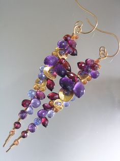 City Girl in Times Square...Amethyst Garnet Sapphire Encrusted Signature Original Gold Filled Lengthy Stem Earrings