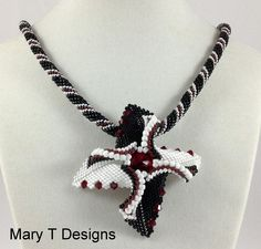 Black and White Beadwoven Pendant Necklace...EBW by MaryTDesigns