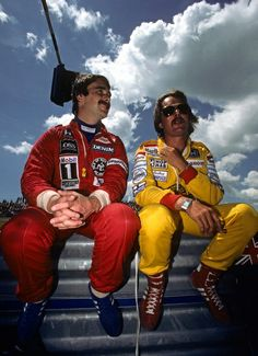 Nigel Mansell and Keke Rosberg - Canada 1985 Moustache club 1985 edition