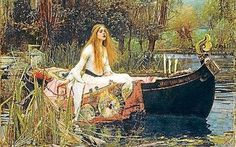 Lady of Shallot by Waterhouse. Pre-Raphaelite Art.