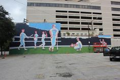 The transformation of our Wininger Law Firm Building into something magical in downtown Birmingham, Alabama. Birmingham Art, Birmingham Alabama, New York Yankees, Murals, Law, Basketball Court, Urban, Building, Birmingham
