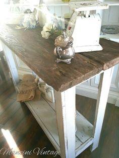 Mancini Vintage Farmhouse Console Table Reclaimed Barnwood Chippy Gray Base