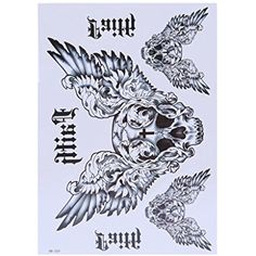 Arich 5 Sheets Extra Temporary Tattoo Skull Owl Body Arm Stickers Black Removable Waterproof-Wings -- Visit the image link more details. (This is an affiliate link) #TemporaryTattoos