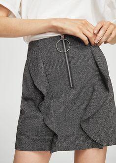 Check patterned ruffled skirt