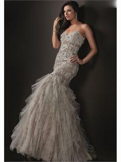 Mermaid Sweetheart Boned Lace Tulle 2013 Prom Dresses