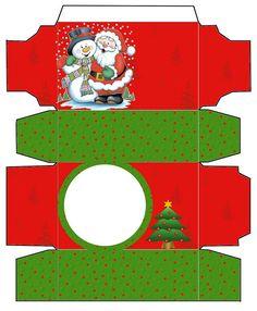 Santa and Snowman: Boxes. Printable Box, Free Printables, Paper Folding Crafts, Cardboard Box Crafts, Paper Crafts, Christmas Gift Box, Christmas Minis, Christmas Crafts, Diy Gifts To Sell