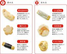 商品内容(赤)黒大豆おかき、梅ざらめ、海苔巻(白)よろ昆布巻、長寿海老、アーモンドおかき