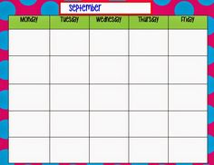 Weekly schedule template for PDF version 1: landscape, 1 page ...