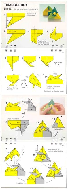 diagramme origami modulaire boîte triangulaire avec couvercle en spirale