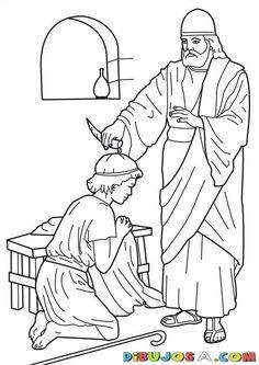 Dibujo de la Uncion de Samuel | COLOREAR BIBLICOS | Dibujo para colorear la Uncion a Samuel | dibujosa.com