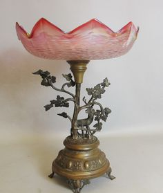 Bohemian Iridized Art Glass Compote w/ Deer c. 1900 vase bowl