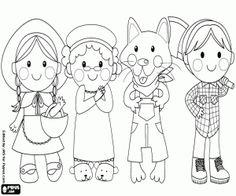 Colorear Personajes del cuento Caperucita