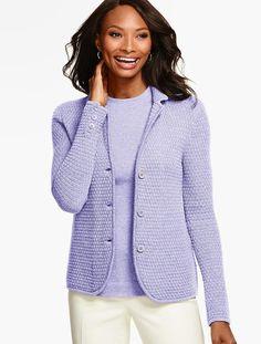 Merino Wool Basket-Weave Sweater Jacket - Talbots