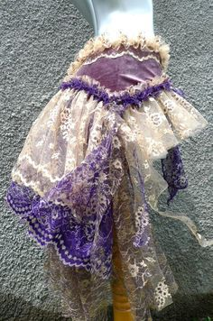 Gypsy Bustle Belt in Silver Purple Velvet and Ecru and Purple Lace. $65.00, via Etsy.