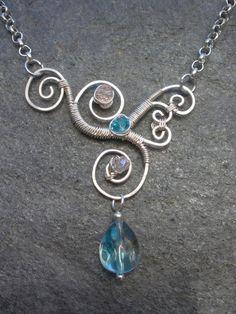 Asymmetrical Wire Wrapped Pendant by ~ChloeLB on deviantART