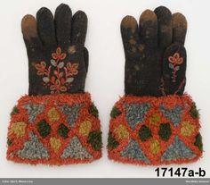 Twined knitted, embroidered mittens of uncertain origin; either Sweden or Norway