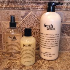 Authentic Philosophy Products!!! Large pump bottle of fresh cream lotion, bottle of fresh cream body spritz and brand new bottle of purity facial cleanser!! Philosophy Other