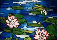 Claude Monet style stained glass flower design