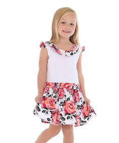 Mikko Kids Pink Flower Dress - Toddler & Girls | zulily