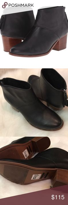 "NWOB TOMS Black leather Leila booties sz 7.5 NWOB TOMS Black leather Leila booties. 2 1/4"" stabled heel. Back zip.  Posh Ambassador 780+ items sold with perfect 5 ⭐️⭐️⭐️⭐️⭐️star rating. Toms Shoes Ankle Boots & Booties"