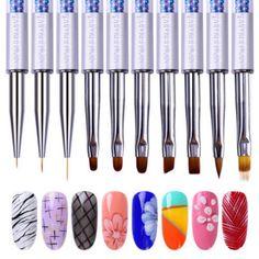 UV Gel Brush Liner Painting Pen Acrylic Drawing Brush for Nails Gradient Rhinestone Handle Manicure Nail Art Tool Uv Gel Nails, Gel Nail Art, Nail Art Diy, Nail Manicure, Diy Nails, Pedicure, Nail Art Brushes, Nail Art Tools, Nail Art Supplies
